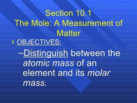 section 10 1 the mole a measurement of matter answers chemistry chp 10 chemical quantities powerpoint
