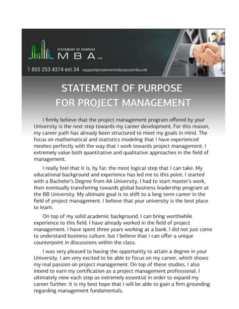 Statement Of Goals For Mba by Sle Mba Statement Of Purpose For Project Management