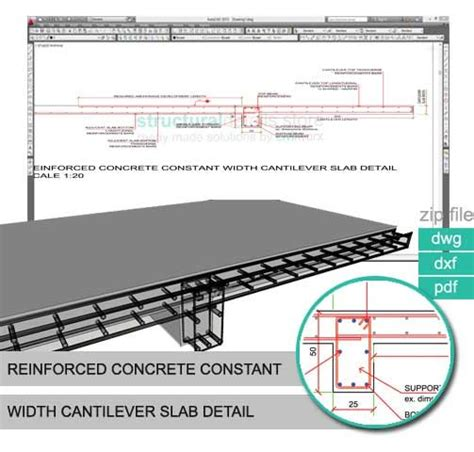 balanced section reinforced concrete reinforced concrete constant width cantilever slab detail