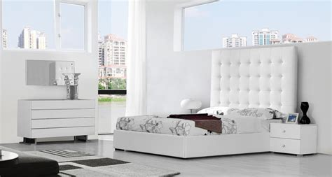 modern white bedroom set lyrica white eco leather tall headboard bed