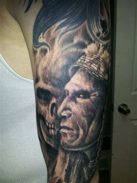 black and grey indian tattoos 26 indian chief sleeve tattoos
