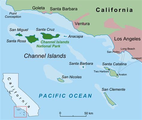 Bodies Of Water Near Los Angeles by File Californian Channel Islands Map En Png Wikipedia