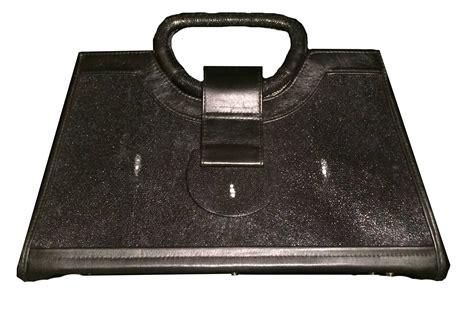 R Y Augousti by R Y Augousti Shagreen Stingray Black Handbag Modernism