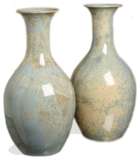 Gray Vases by Arles Classic Pale Blue Gray Stoneware Reactive Glaze Vase Set Transitional Vases By Kathy
