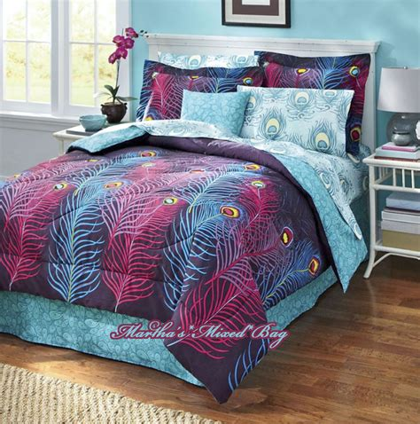 peacock feathers comforter set purple blue magenta