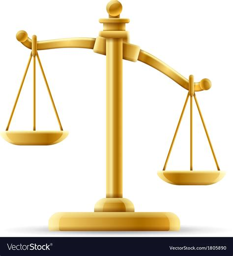 color of justice unbalanced scale of justice royalty free vector image