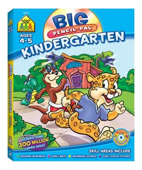 School Zone Kindergarten Stickers And More Workbook kindergarten big pencil pal workbook cd rom