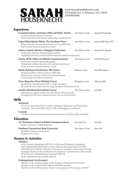 Pr Resume by Skills For Relations Resume Resume Ideas