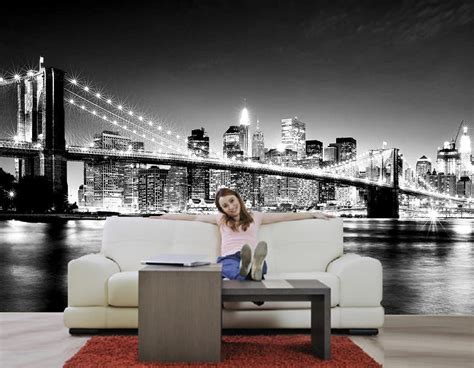 skyline bedroom wallpaper new york skyline black white brooklyn bridge decorating