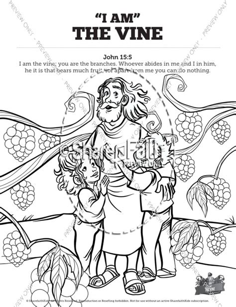 coloring pages jesus is the vine sunday school activities kids bible stories and videos