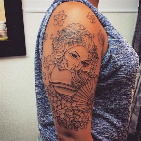 geisha tattoo outline 52 japanese geisha tattoo designs and drawings with images
