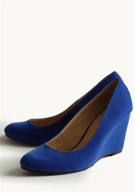 royal blue wedge sandals shop ruche cobalt blue suede wedges color crush cobalt
