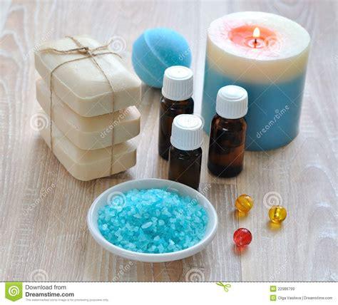 essential oils on salt l sea salt essential oils soap and candle stock image
