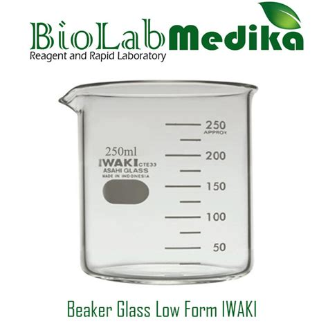 Beaker Glass 50ml Iwaki jual beaker glass low form 250ml iwaki biolab medika
