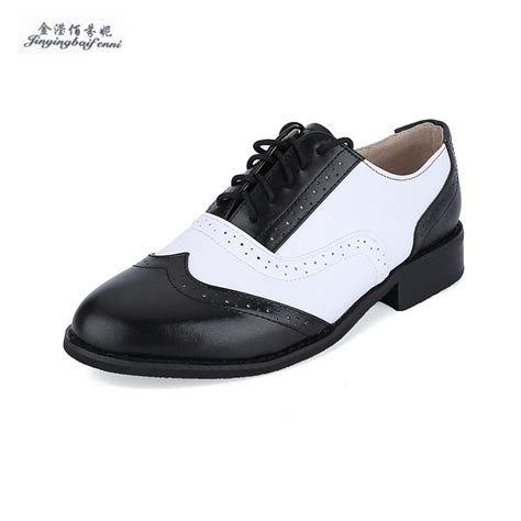 white oxfords shoes genuine leather black white oxford shoes for lace up