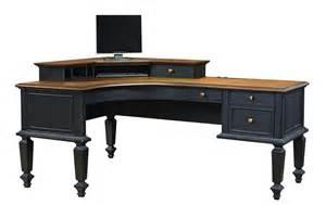 Wooden Corner Desks Corner Black Wooden Desk With Brown Wooden Top Completed By Drawers And Five Legs Of Splendid