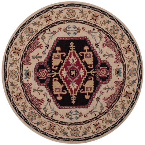 Safavieh Bellagio Beige Black 5 Ft X 5 Ft Round Area Rug 5 Foot Area Rugs