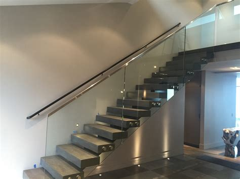 glass stair banisters and railings glass stair rail with standoffs ot glass