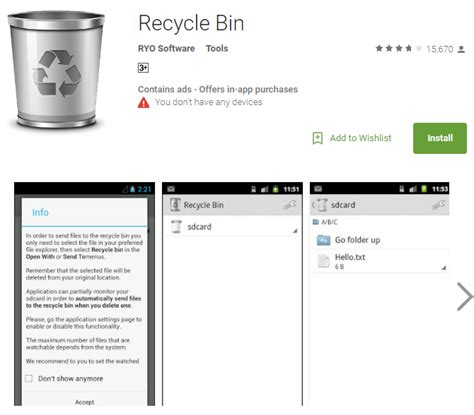 recycle bin for android android recycle bin recovery restore deleted data from android recycle bin