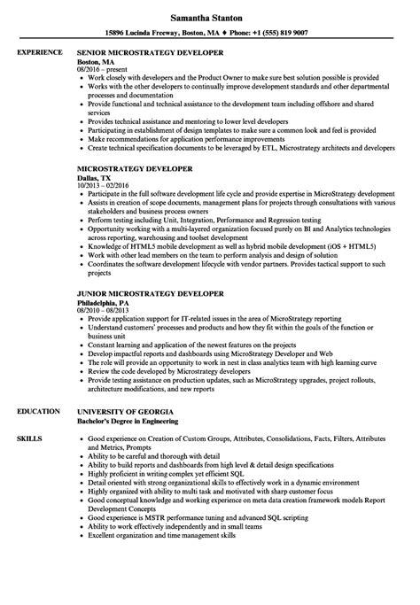 Microstrategy Sdk Developer Resume by Microstrategy Developer Resume Sles Velvet