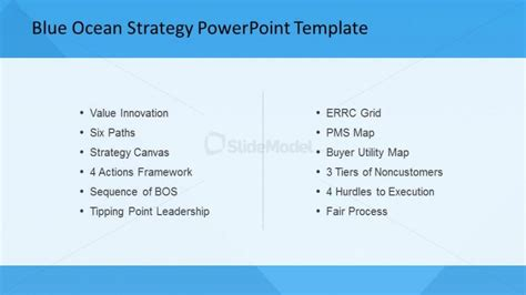 Blue Ocean Strategy List Of Strategic Analysis Tools Slidemodel Blue Strategy Powerpoint