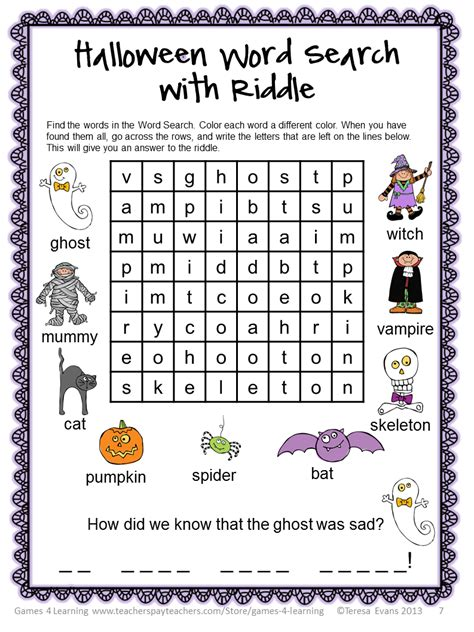 printable halloween word games halloween word search for 1st graders free printable