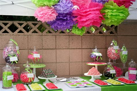 Pink Purple And Lime Green Party Yelp Pink And Green Buffet