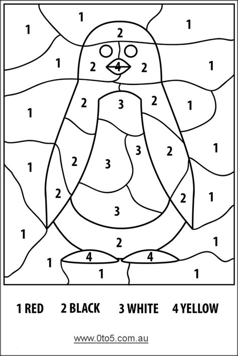 color by number coloring pages easy color by numbers penguin easy kinderland collaborative