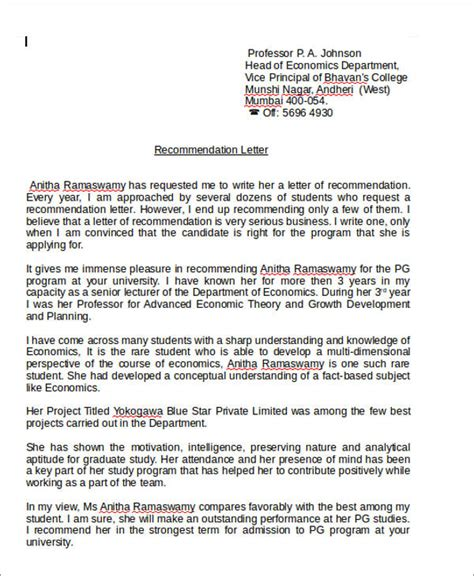 Personal Reference Letter Format Doc 7 Sle Personal Recommendation Letter Free Sle Exle Format
