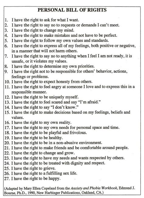 printable version of the bill of rights your assertive rights quotes