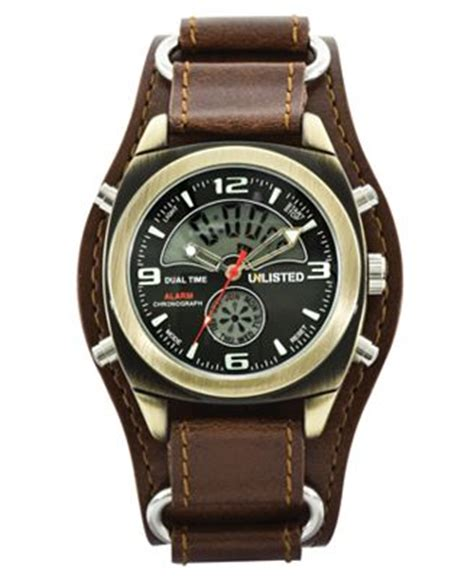 unlisted s analog digital brown leather cuff