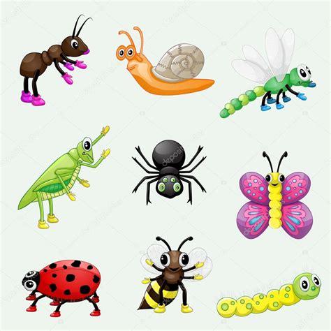 imagenes animados de insectos sistema de dibujos animados lindo insectos foto de stock