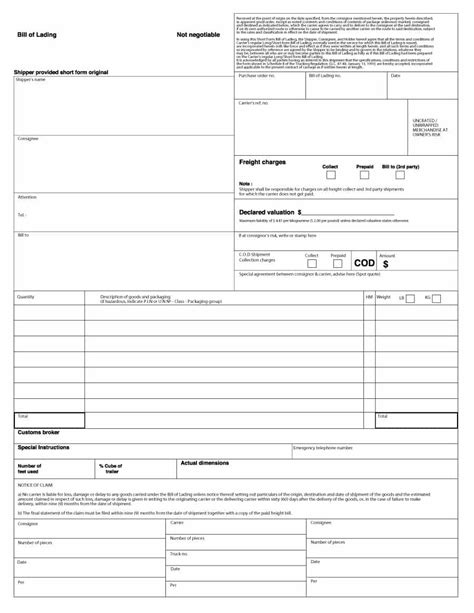 shipping bill of lading template bill of lading free