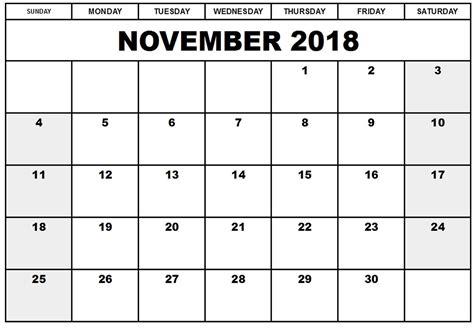printable calendar pages 2018 november 2018 printable calendar templates invoice