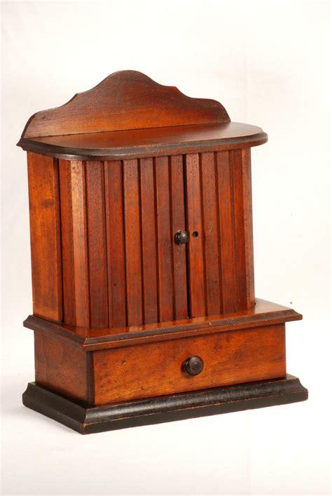 antique thread caddy spool holder sewing box cabinet