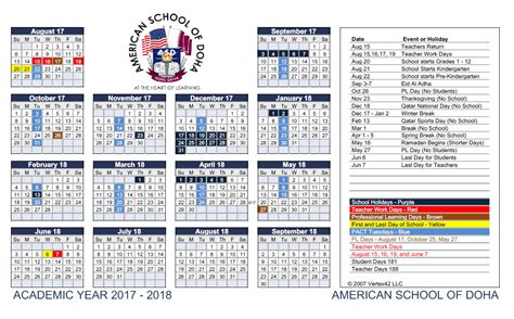 American Academic Calendar American School Of Doha Premier International School In