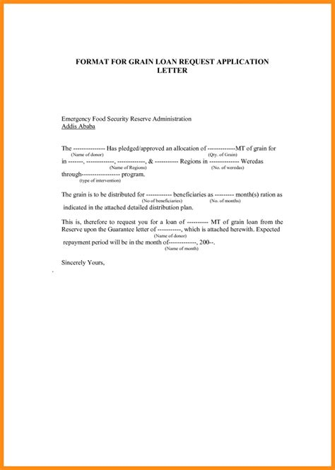 Emergency Loan Letter Format 9 Application Letter For Loan Musicre Sumed