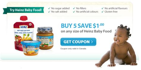 heinz baby food printable coupons canadian coupons buy 5 heinz baby foods save 1