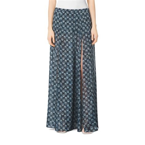 michael kors leaf print maxi skirt in blue lyst
