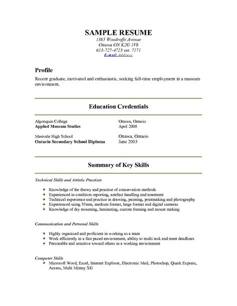 Show Me Resume Exles by Exles Of Resumes A Sle Resume For Internship College Student Work With Show Me 89