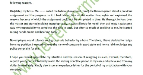 resignation letter due bad rude behaviour boss