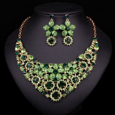 Set Bridal India Kalung India Kalung Pesta Set Aamh031 aliexpress beli mode baru anting kalung perhiasan pengantin set berlapis emas pengantin