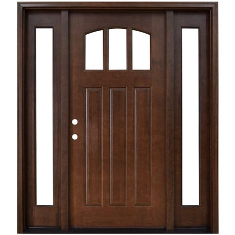 wood front door steves sons 60 in x 80 in craftsman 3 lite arch