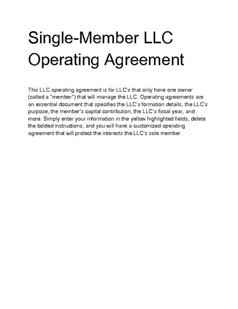 single member llc operating agreement template free single member llc operating agreement template free 28