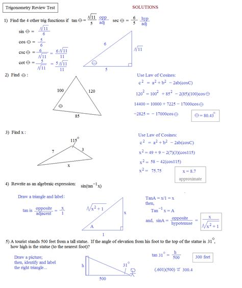 Trigonometry Review Worksheet by Simple Math Problems That Everyone Gets Wrong