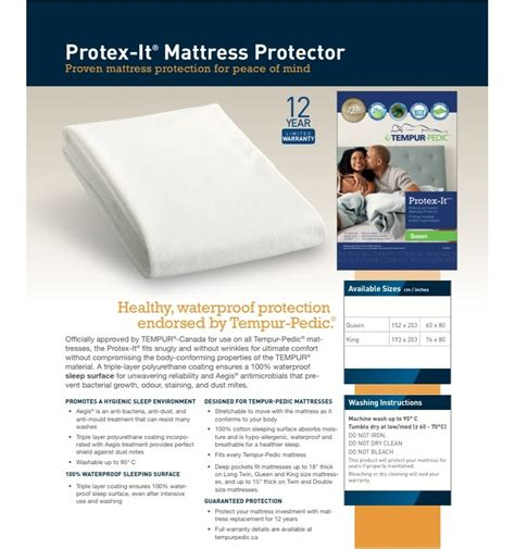 Tempurpedic Waterproof Mattress Pad by Tempurpedic Mattress Protector Click To Enlarge Mattress