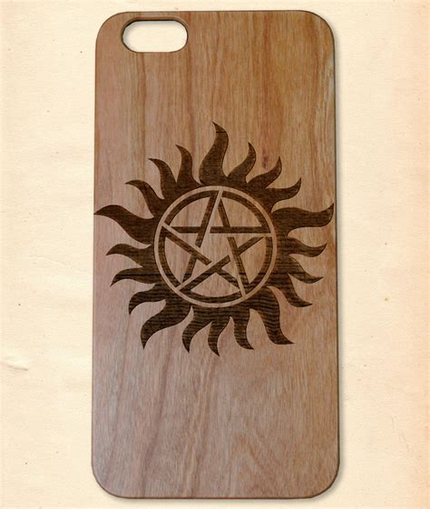 Handmade Wooden Iphone Cases - supernatural emblem handmade wooden cover for iphone