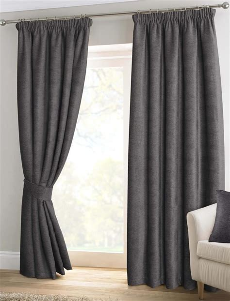 lined grey curtains pewter grey chenille pencil pleat lined thermal ready made