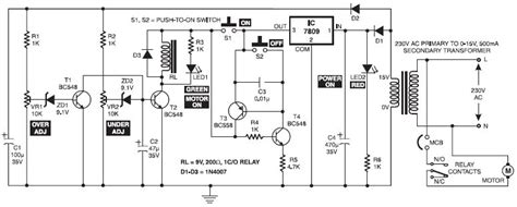 electronic motor starter circuit schematic design