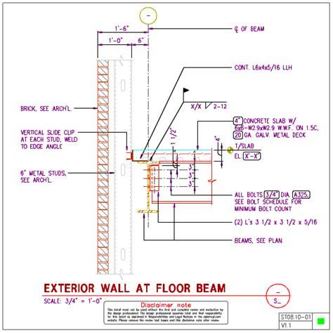 metal stud section st08 10 steel floor with 6 inch metal stud wall